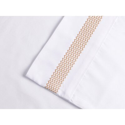 Hackensack Solid Peaks Embroidery Pillowcase Color: White/Gold, Size: Standard