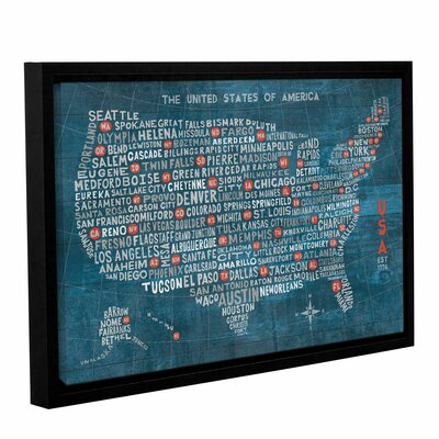 US City Map on Wood Blue Framed Graphic Art on Wrapped Canvas Size: 12