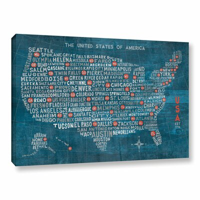 US City Map on Wood Blue Graphic Art on Wrapped Canvas Size: 12