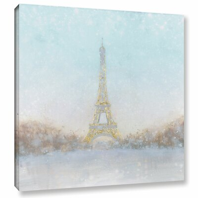 Eiffel Romance No Couple Turquoise Painting Print on Wrapped Canvas Size: 10