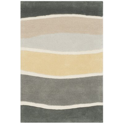 Schaub Hand-Tufted Gray / Gold Area Rug Rug Size: Square 6