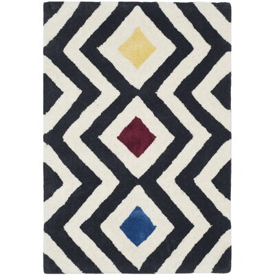 Schaub Hand-Tufted Beige / Charcoal Area Rug Rug Size: Rectangle 76 x 96