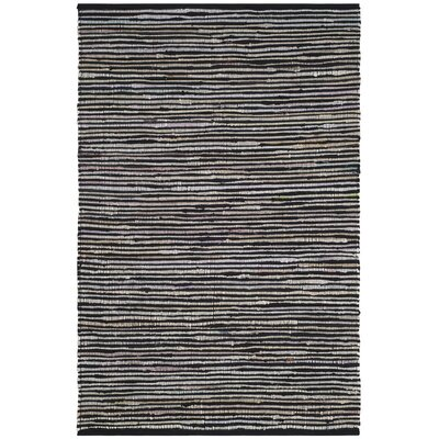 Shatzer Hand-Woven Black Area Rug Rug Size: Rectangle 6' x 9'