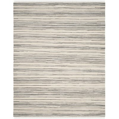 Shatzer Hand-Woven Ivory/Gray Area Rug Rug Size: Rectangle 4 x 6
