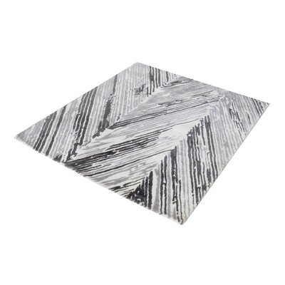 Silvester Hand-Woven Gray/White Area Rug Rug Size: Rectangle 8 x 10