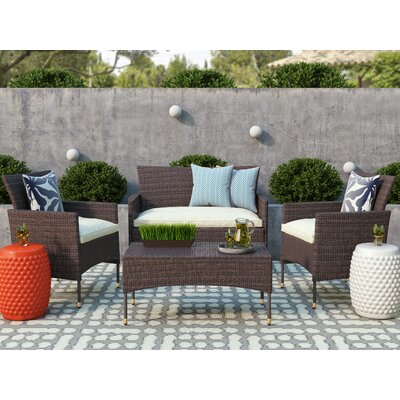 Laverock 4 Piece Deep Seating Group with Cushions Finish: Brown