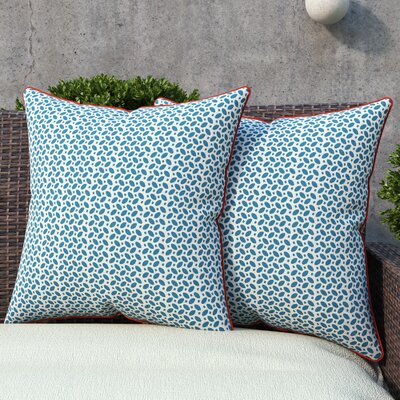 Massey Outdoor Throw Pillow Color: Blue / Orange