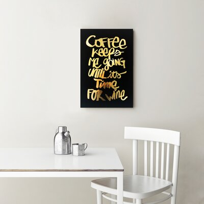 Coffee and Wine Black Textual Art on Canvas