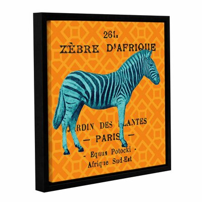 Bright Safari Zebra Framed Graphic Art on Wrapped Canvas Size: 10'' H x 10'' W x 2