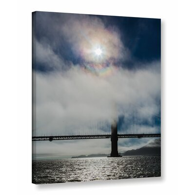 Golden Gate Silhouette and Rainbow Darker Photographic Print on Wrapped Canvas Size: 10