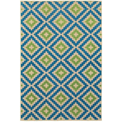 Barra Sand/Blue Outdoor Area Rug Rug Size: 53 x 76