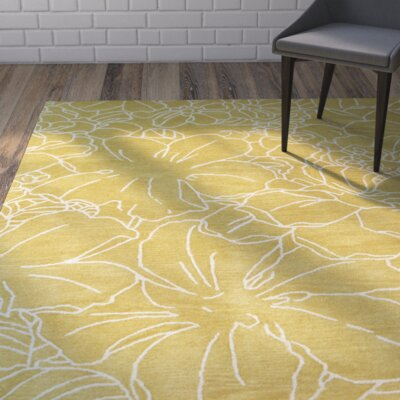 Hand-Tufted Yellow/Ivory Area Rug Rug Size: 3 x 5