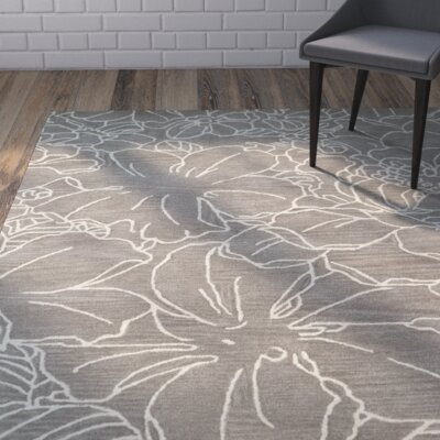 Hand-Tufted Taupe/Ivory Area Rug Rug Size: 9 x 12