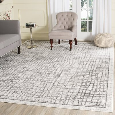 Schacher Silver/Ivory Area Rug Rug Size: Rectangle 10 x 14