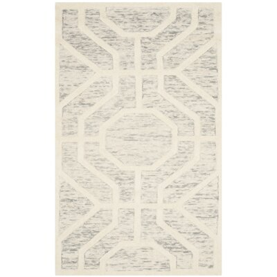 Medina Hand-Tufted Light Gray/Ivory Area Rug Rug Size: 2 x 3