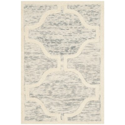 Medina Hand-Tufted Light Gray/Ivory Area Rug Rug Size: 2' x 3'