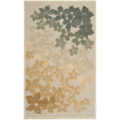 Flower Field Beige/Gray Area Rug Rug Size: Rectangle 53 x 76