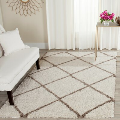 Elizabeth Street Ivory/Brown Area Rug Rug Size: Rectangle 2-3 X 12