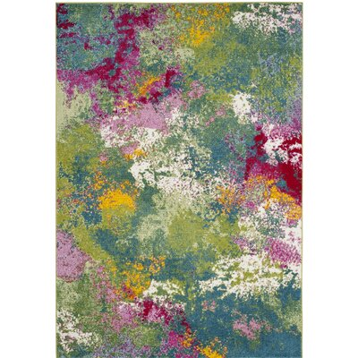 Sharber Green/Pink Area Rug Rug Size: 53 x 76