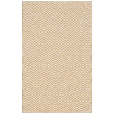 Shevchenko Place Hand-Woven Ivory/Gold Area Rug Rug Size: Rectangle 26 x 4