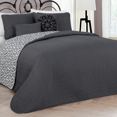 Andice 5 Piece Reversible Quilt Set Color: Gray, Size: Queen