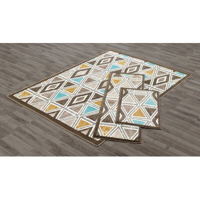 East Drive 3 Piece Taupe Area Rug Set