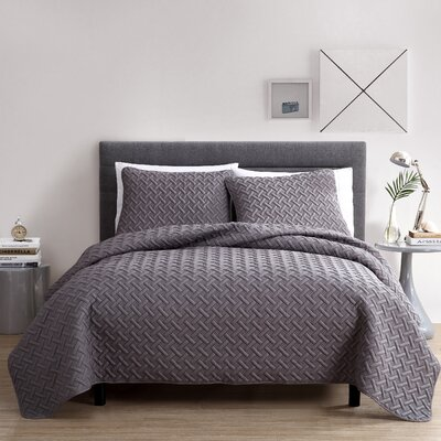 Colosimo Coverlet Set Size: Queen, Color: Gray