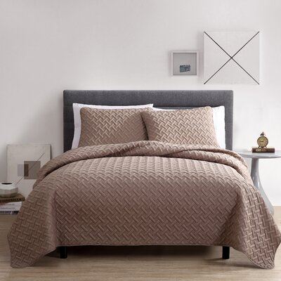 Colosimo Coverlet Set Size: Queen, Color: Taupe