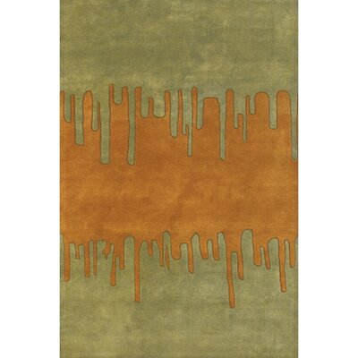 Shull Green Orange Area Rug Rug Size: Round 79