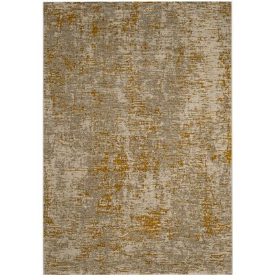 Sorrentino Gray/Gold Area Rug Rug Size: 52 x 76