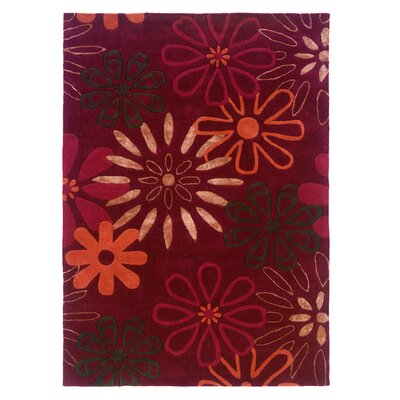 Fugen Hand-Tufted Red Area Rug Rug Size: 110 x 210