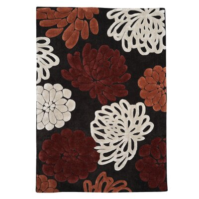 Askins Hand-Tufted Chocolate/Garnet Area Rug Rug Size: 5 x 7