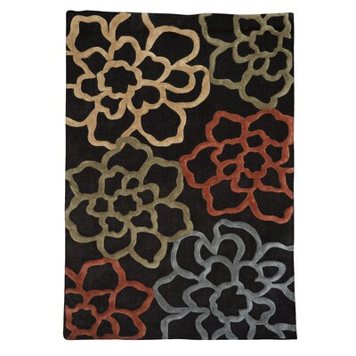 Fugen Hand-Tufted Chocolate Area Rug Rug Size: 5 x 7