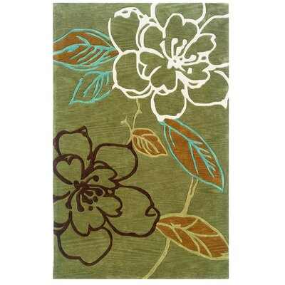 Askins Hand-Tufted Green Area Rug Rug Size: 5 x 7