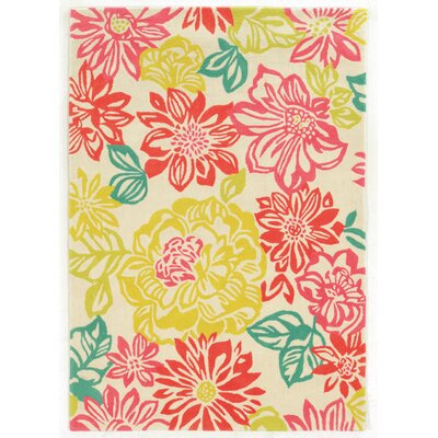Askins Hand-Tufted Pink/Yellow Area Rug Rug Size: 5 x 7
