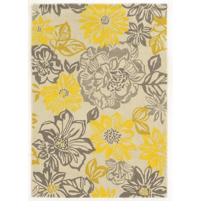 Askins Hand-Woven Grey/Yellow Area Rug Rug Size: 110 x 210