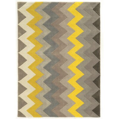 Askins Hand-Tufted Grey/Yellow Area Rug Rug Size: 5 x 7