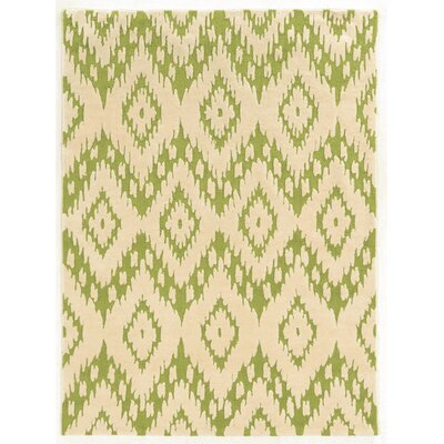 Askins Hand-Tufted Green/Ivory Area Rug Rug Size: 110 x 210
