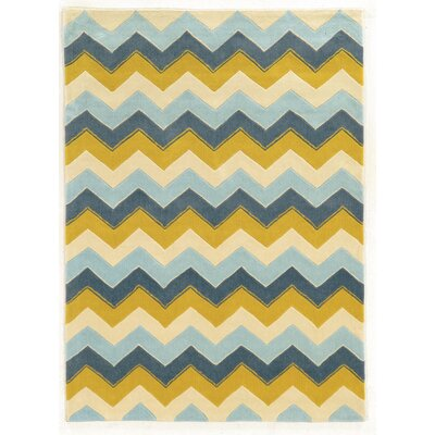 Askins Hand-Tufted Blue/Gold Area Rug Rug Size: Rectangle 5 x 7