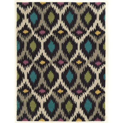 Askins Hand-Tufted Grey/Ivory Area Rug Rug Size: Rectangle 5 x 7