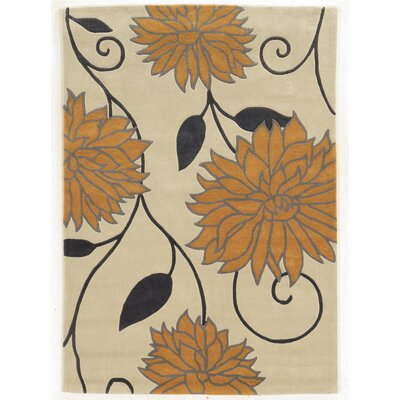 Askins Hand-Tufted Ivory/Gold Area Rug Rug Size: 5 x 7