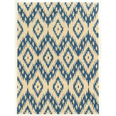 Askins Hand-Tufted Blue/Ivory Area Rug Rug Size: 5 x 7