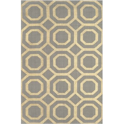 Columbus Circle Hand-Loomed Grey/Gold Area Rug Rug Size: 4 x 6