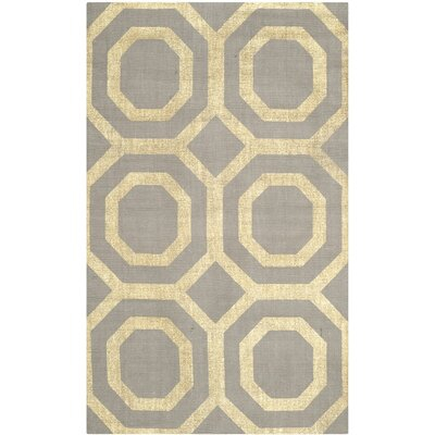 Columbus Circle Hand-Loomed Grey/Gold Area Rug Rug Size: 2'3