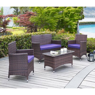 Morrisania 4 Piece Seating Group with Cushion Fabric: Purple
