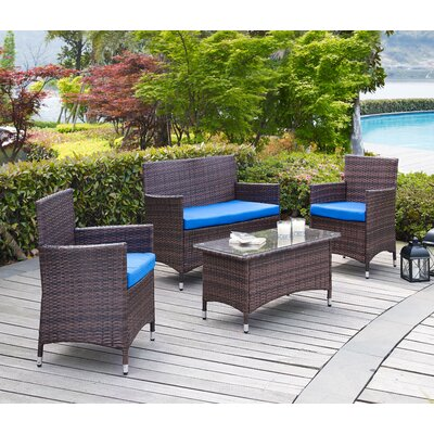 Morrisania 4 Piece Seating Group with Cushion Fabric: Dark Blue