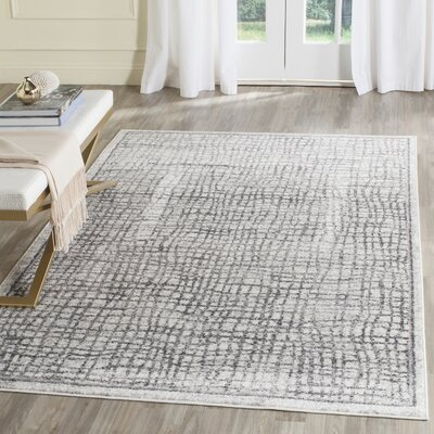 Schacher Silver/Ivory Area Rug Rug Size: Rectangle 12 x 18