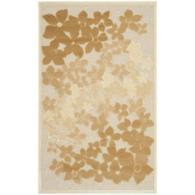 Flower Field Beige/Brown Area Rug Rug Size: Rectangle 53 x 76