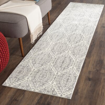 January Gray/Cream Area Rug Rug Size: Runner 26 x 8
