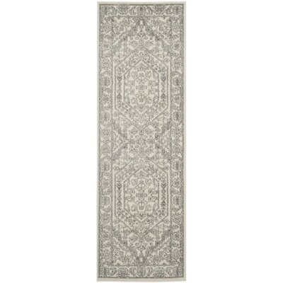 Glover Contemporary Ivory/Silver Area Rug Rug Size: Runner 26 x 22